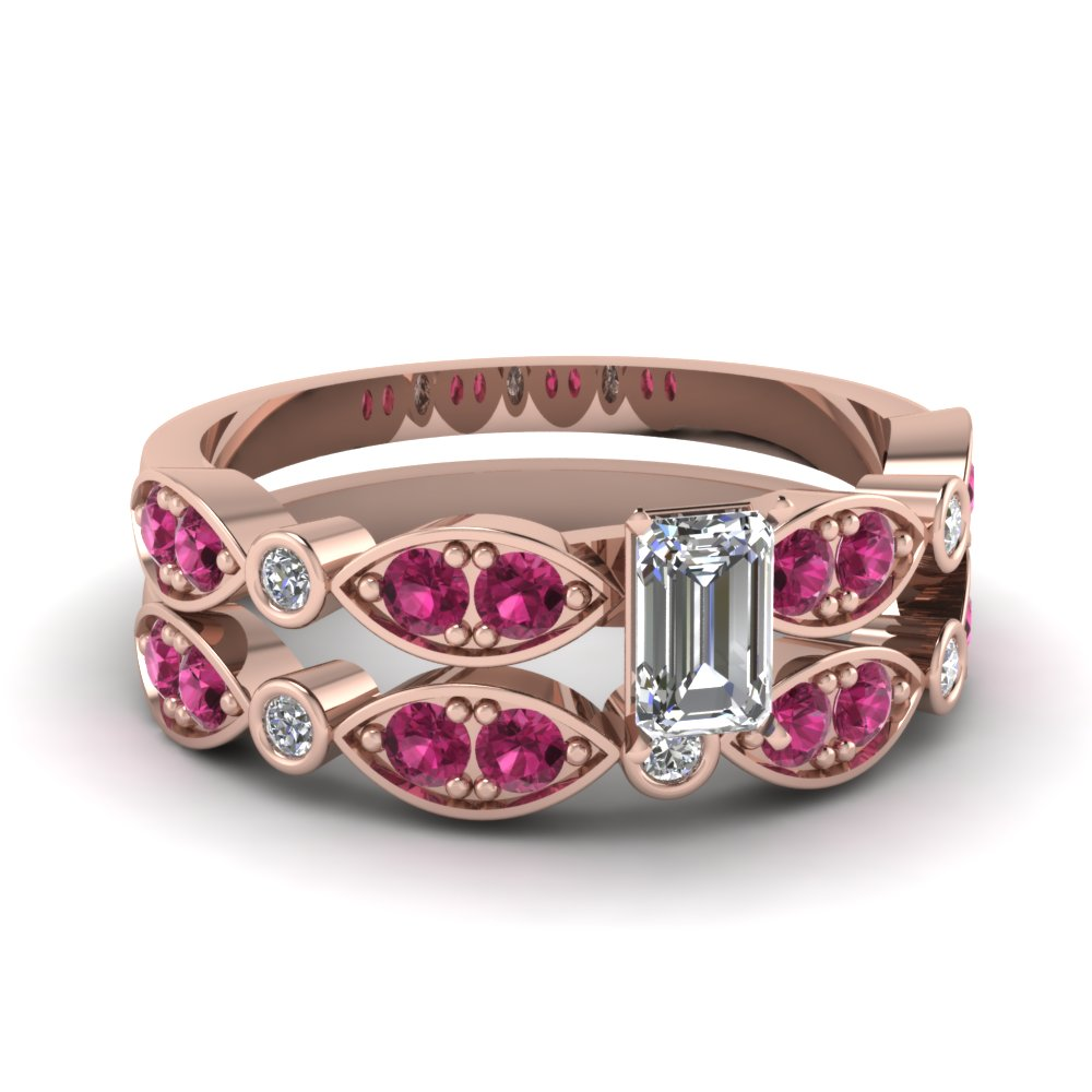 rose-gold-emerald-white-diamond-engagement-wedding-ring-with-dark-pink-sapphire-in-pave-bezel-set-FDENS2035EMGSADRPI-NL-RG