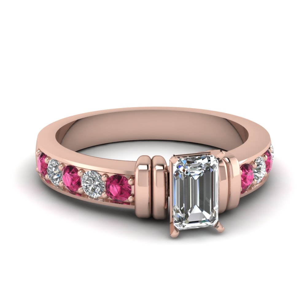 simple bar set emerald cut moissanite engagement ring with pink sapphire in FDENR957EMRGSADRPI Nl RG