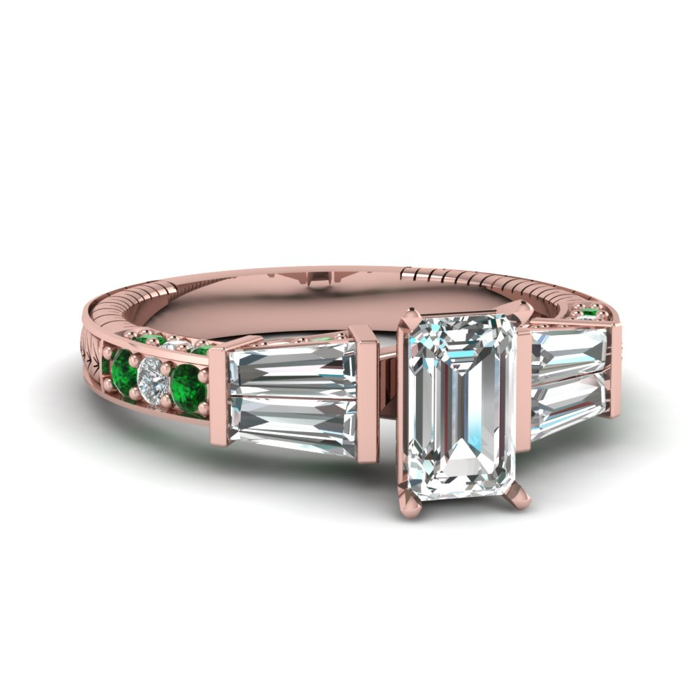 vintage baguette emerald cut diamond engagement ring with emerald in FDENS318EMRGEMGR NL RG