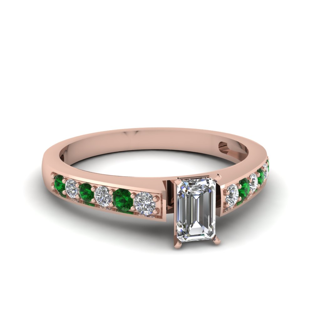 emerald cut pave diamond engagement ring with emerald in FDENS3002EMRGEMGR NL RG 30