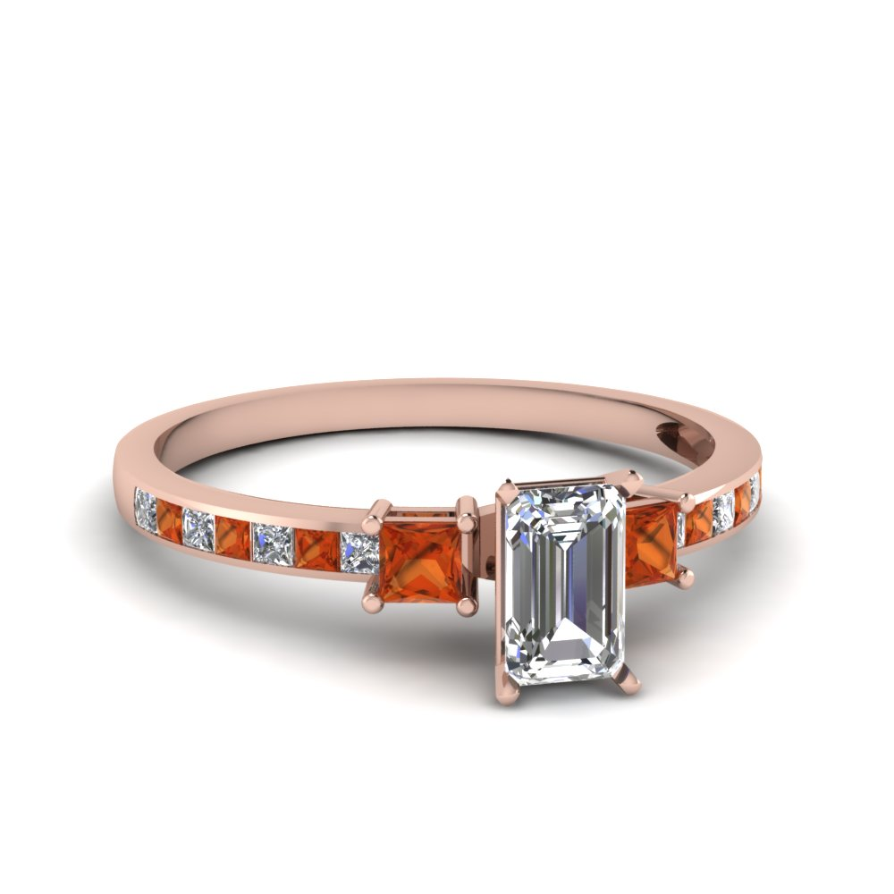 delicate 3 stone emerald cut diamond engagement ring with orange sapphire in FDENS3022EMRGSAOR NL RG 30