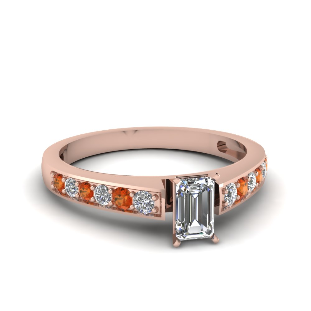 emerald cut pave diamond engagement ring with orange sapphire in FDENS3002EMRGSAOR NL RG 30