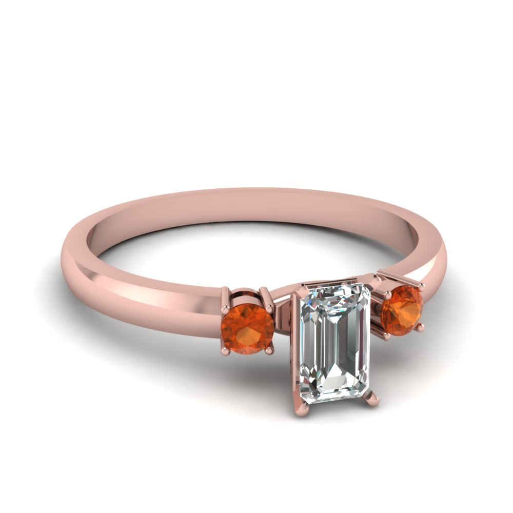 basket prong emerald cut diamond 3 stone ring with orange sapphire in FDENS3106EMRGSAOR NL RG