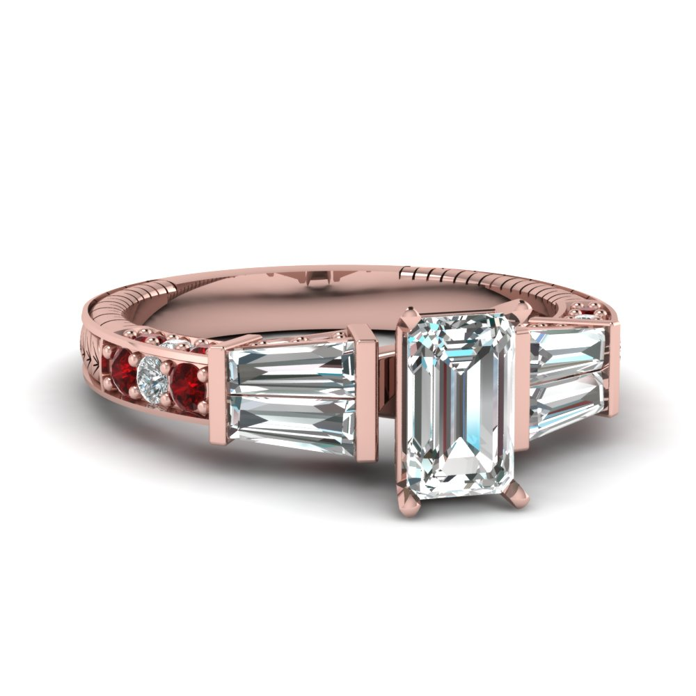 vintage baguette emerald cut diamond engagement ring with ruby in FDENS318EMRGRUDR NL RG