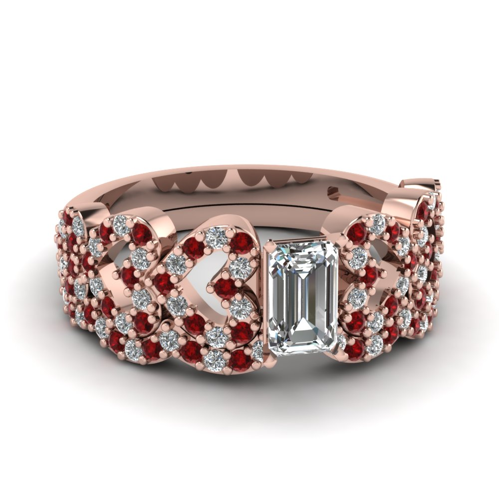 Emerald Cut Heart Design Linked Diamond Wedding Set With Ruby In 14K Rose Gold