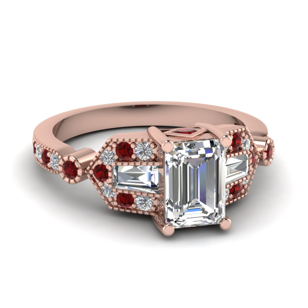 milgrain art deco emerald cut diamond engagement ring with ruby in FD1039EMRGRUDR NL RG