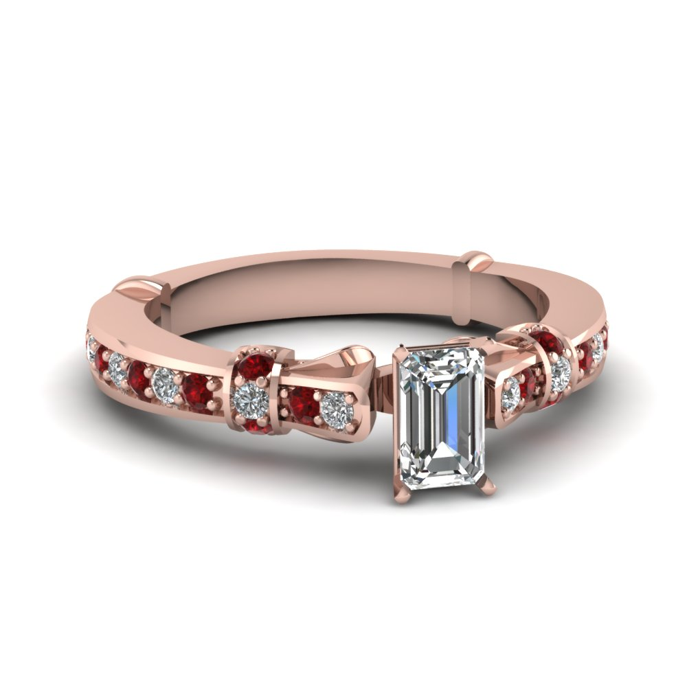 emerald cut antique high set diamond ring with red ruby in FDENS3318EMRGRUDR NL RG