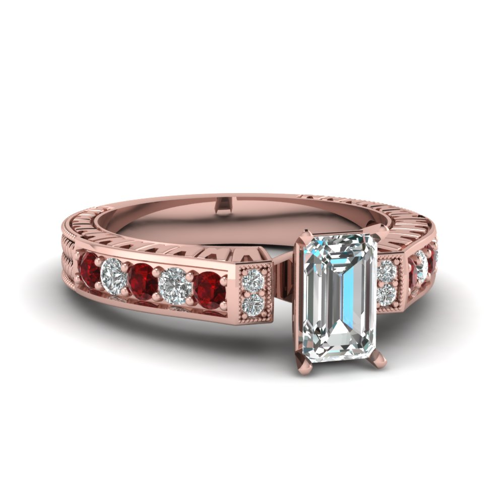 Rose Gold Emerald Cut Ruby Ring