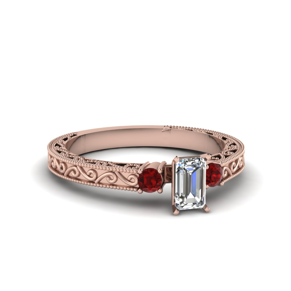Milgrain 3 Stone Ruby Engagement Rings