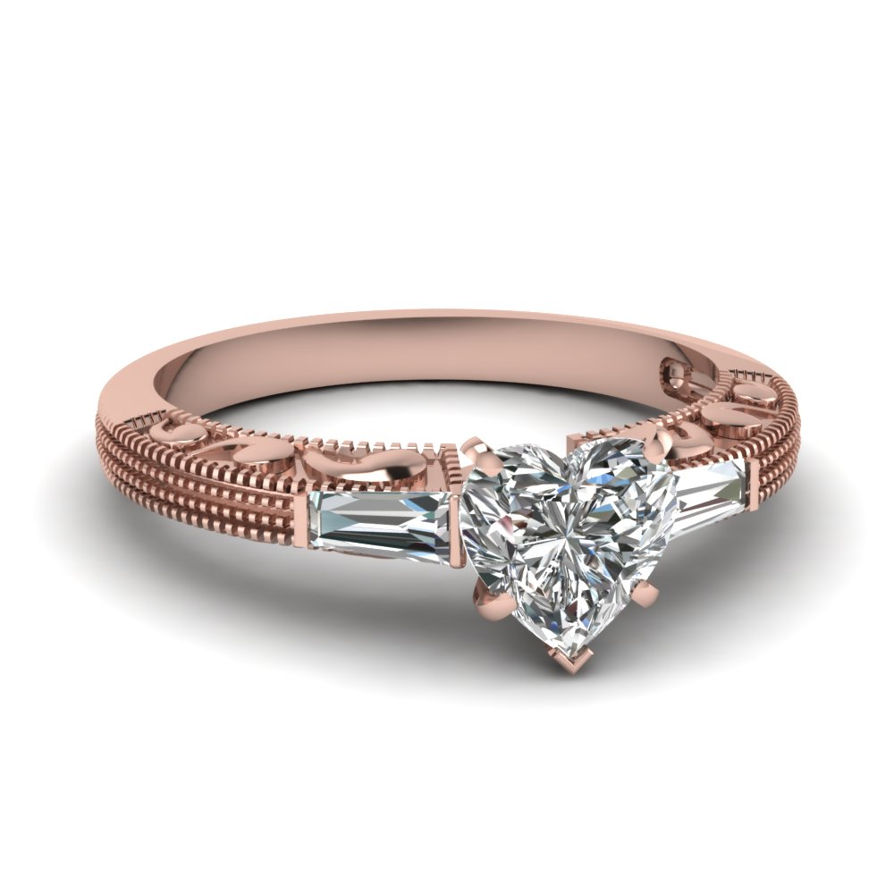 Pink Gold Nature Inspired Heart Diamond Ring