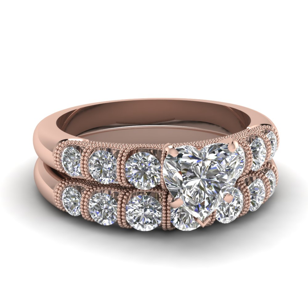 Rose Gold Heart White Diamond Engagement Wedding Ring In Bar Set