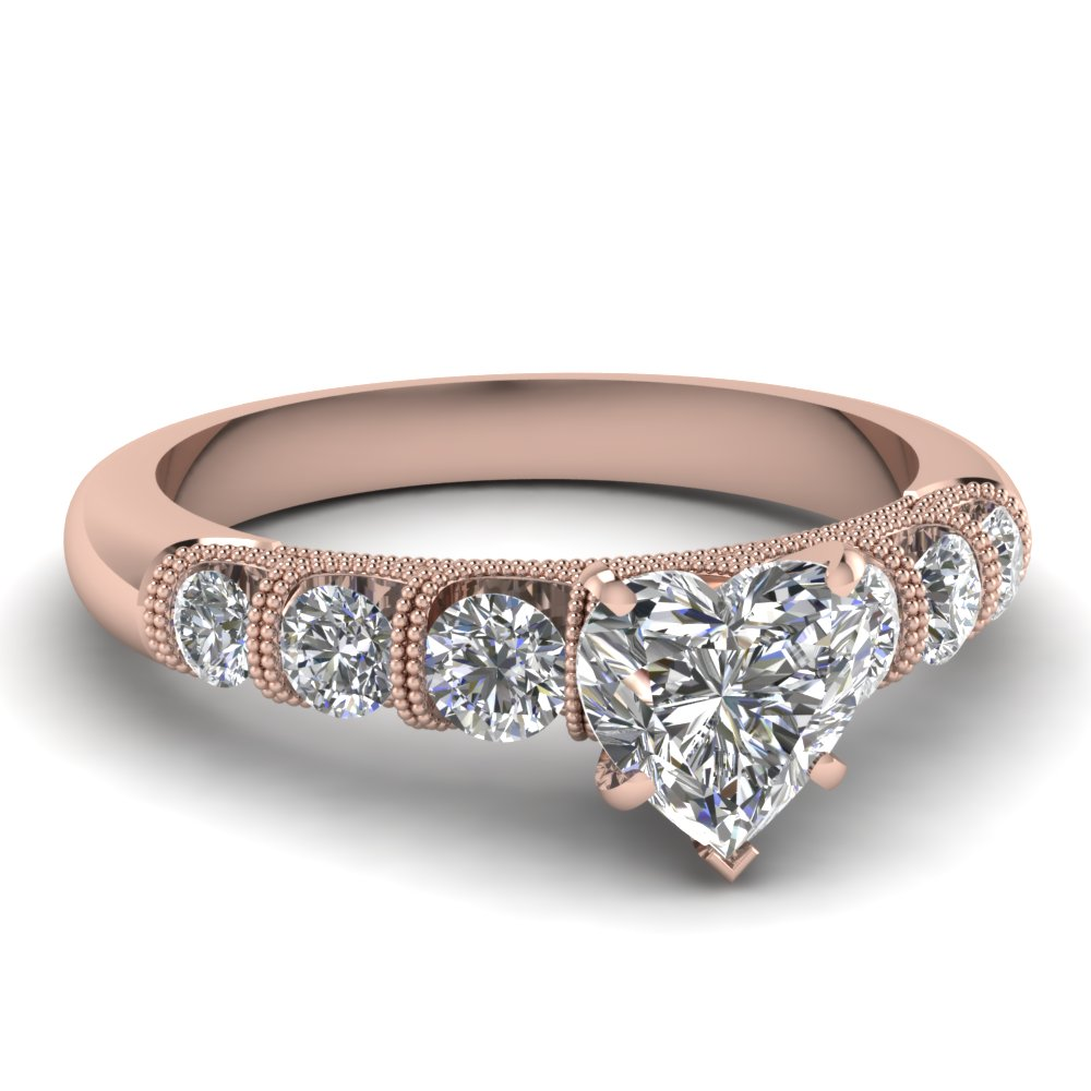 Heart Milgrain Prong Bar Set Diamond Engagement Ring In 18K Rose Gold