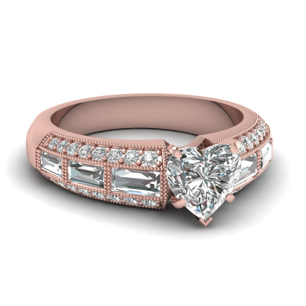 Channel Set Heart Diamond Milgrain Ring with Baguettes