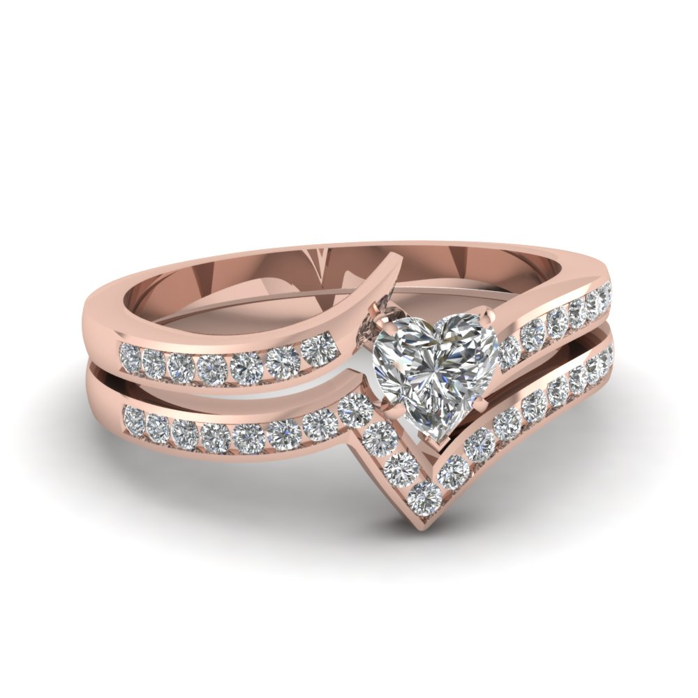 twist channel heart diamond wedding set in FDENS3094HT NL RG 30