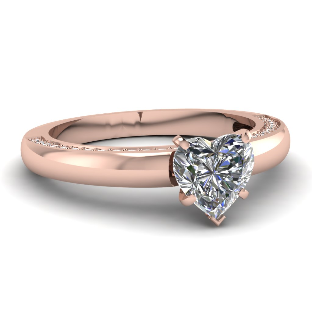 rose gold heart white diamond engagement wedding ring in micro