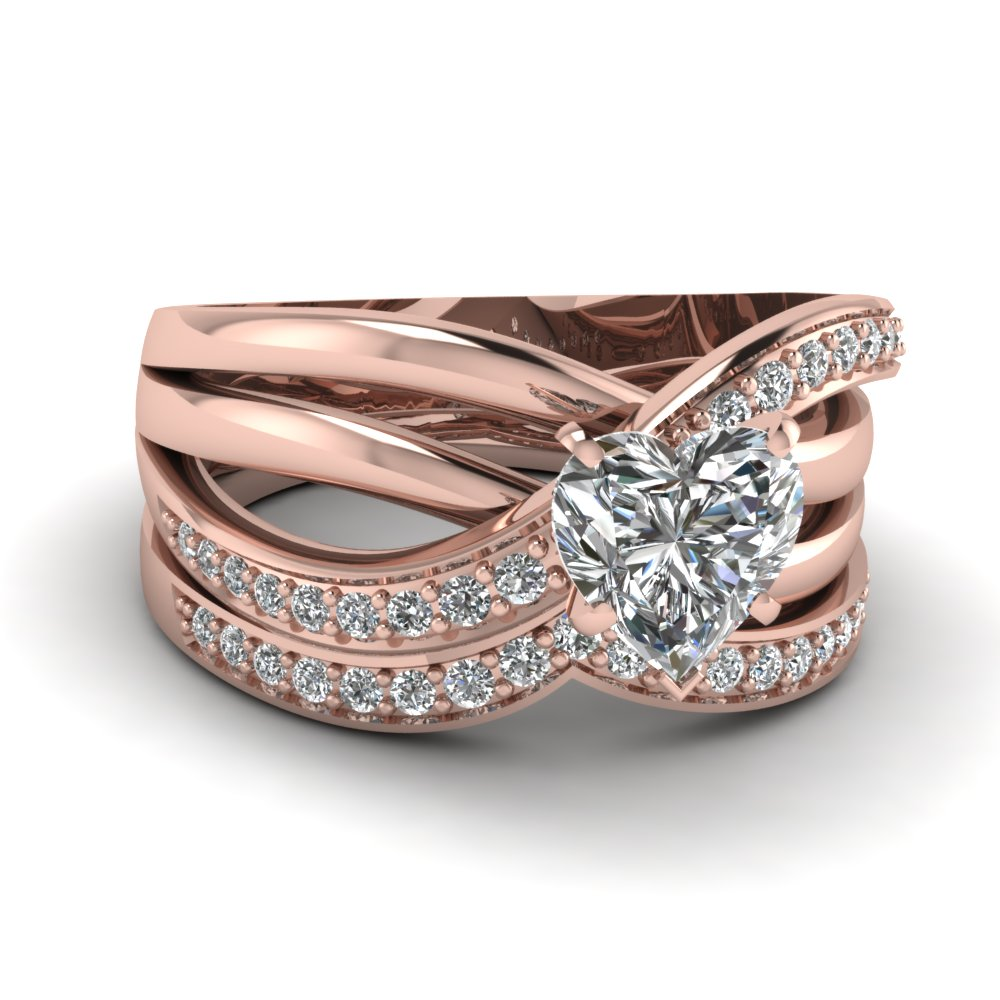 3 Rows Twist Rose Gold Heart Cut Diamond Engagement Ring