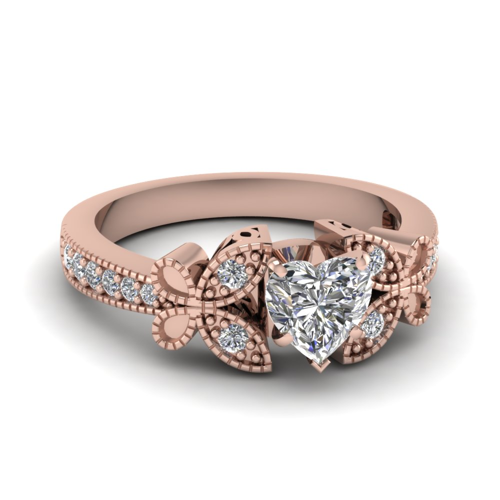 rose gold heart diamond ring - Butterfly Wedding Rings