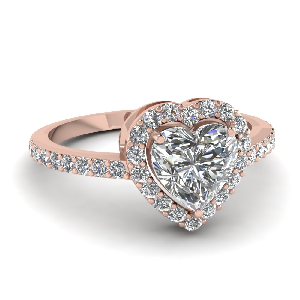 Heart Shaped Diamond Halo Engagement Rings With White Diamond In 14k Rose  Gold