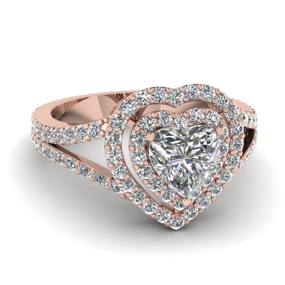 Rose gold heart white diamond engagement wedding ring in for White diamond wedding ring