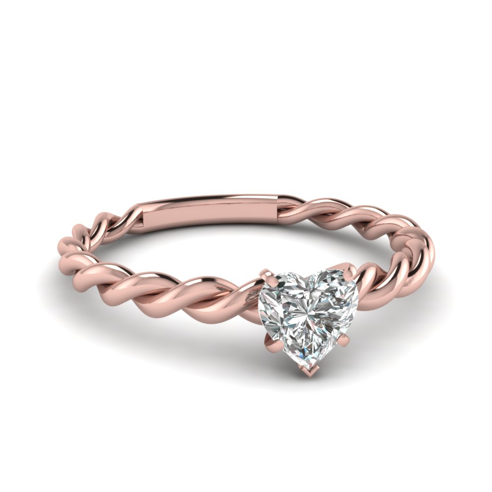 Rose Gold Heart White Diamond Engagement Wedding Ring In Prong Set