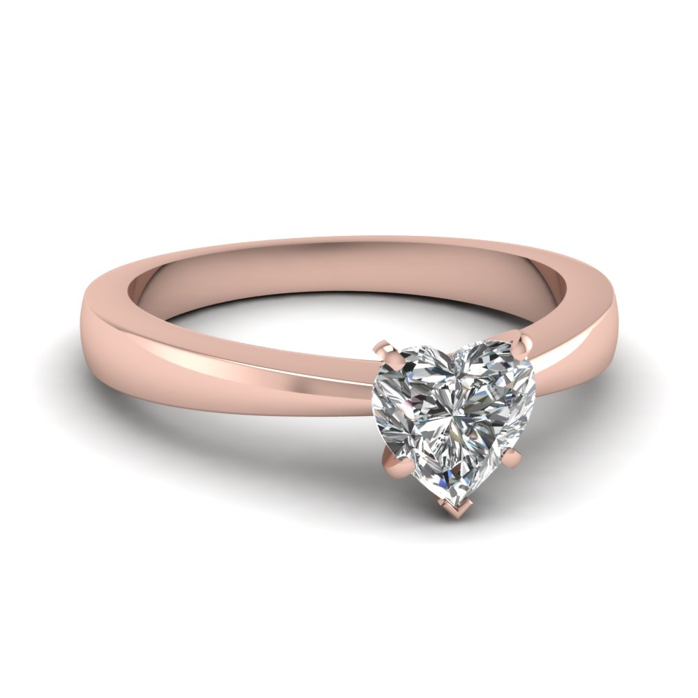 tapered traditional solitaire heart shaped engagement ring in FDENR1282HTR NL RG