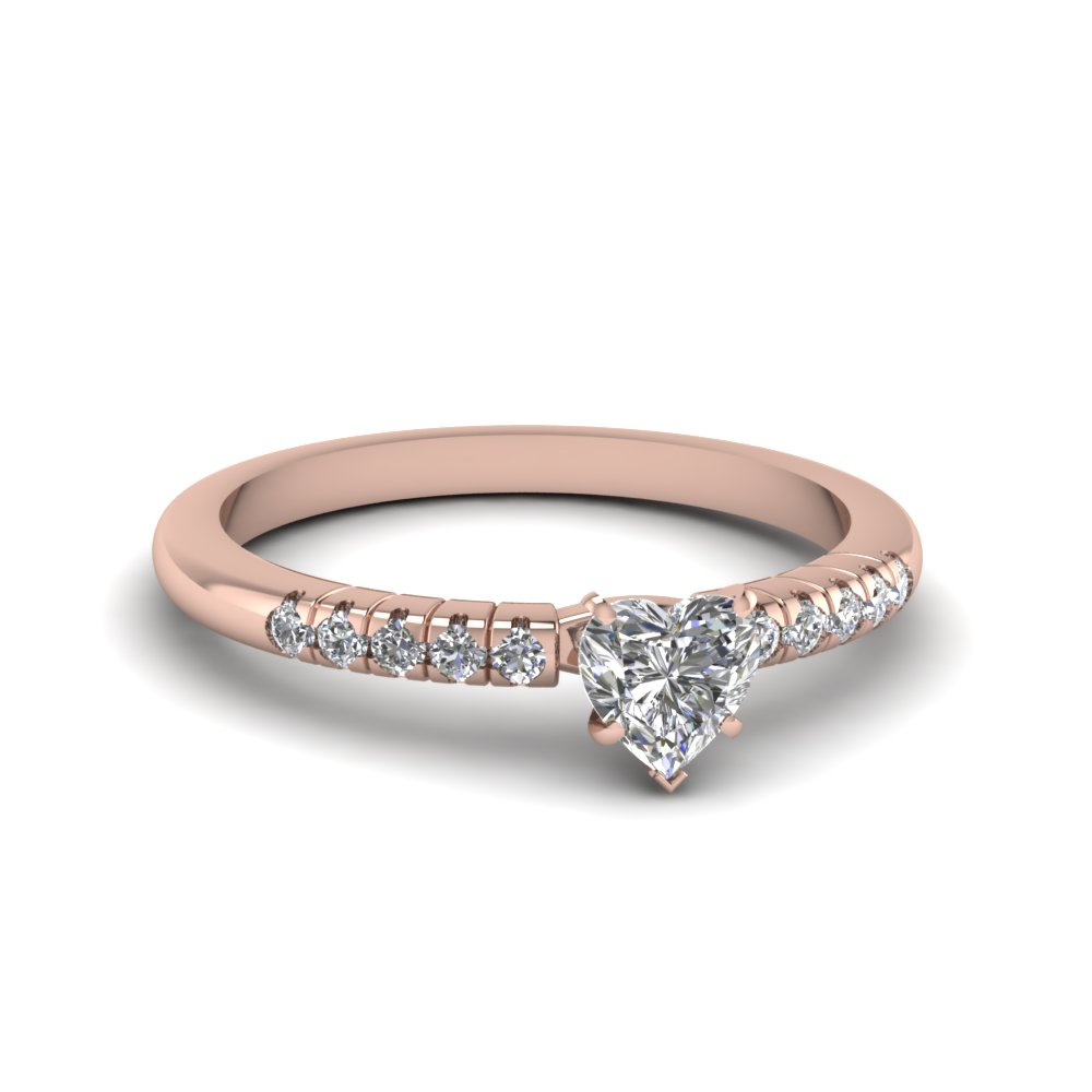 Heart Shaped Petite French Pave Ring