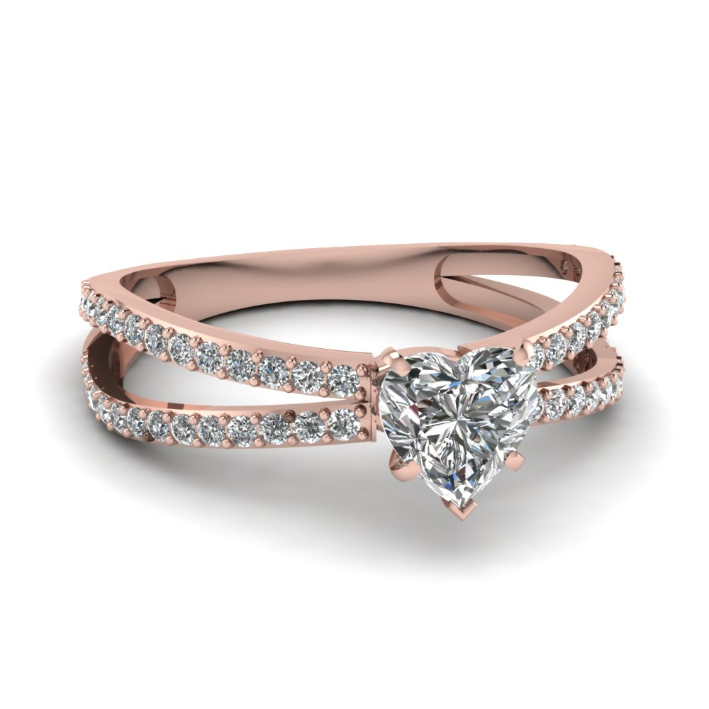 Rose Gold Heart Diamond Split Rings