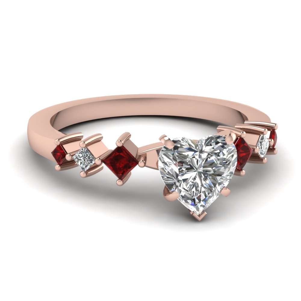 Kite 7 Stone Heart Shaped Diamond and Ruby Engagement Ring