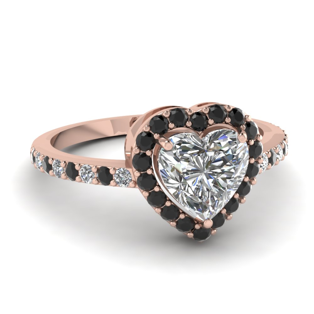Heart Shaped Diamond Halo Engagement Rings With Black Diamond In 14k Rose  Gold