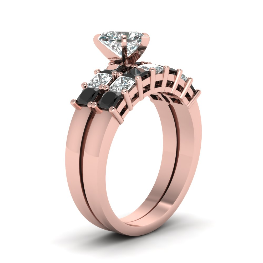 7 Stone Heart Bridal Set With Black Diamond In 14K Rose Gold ...