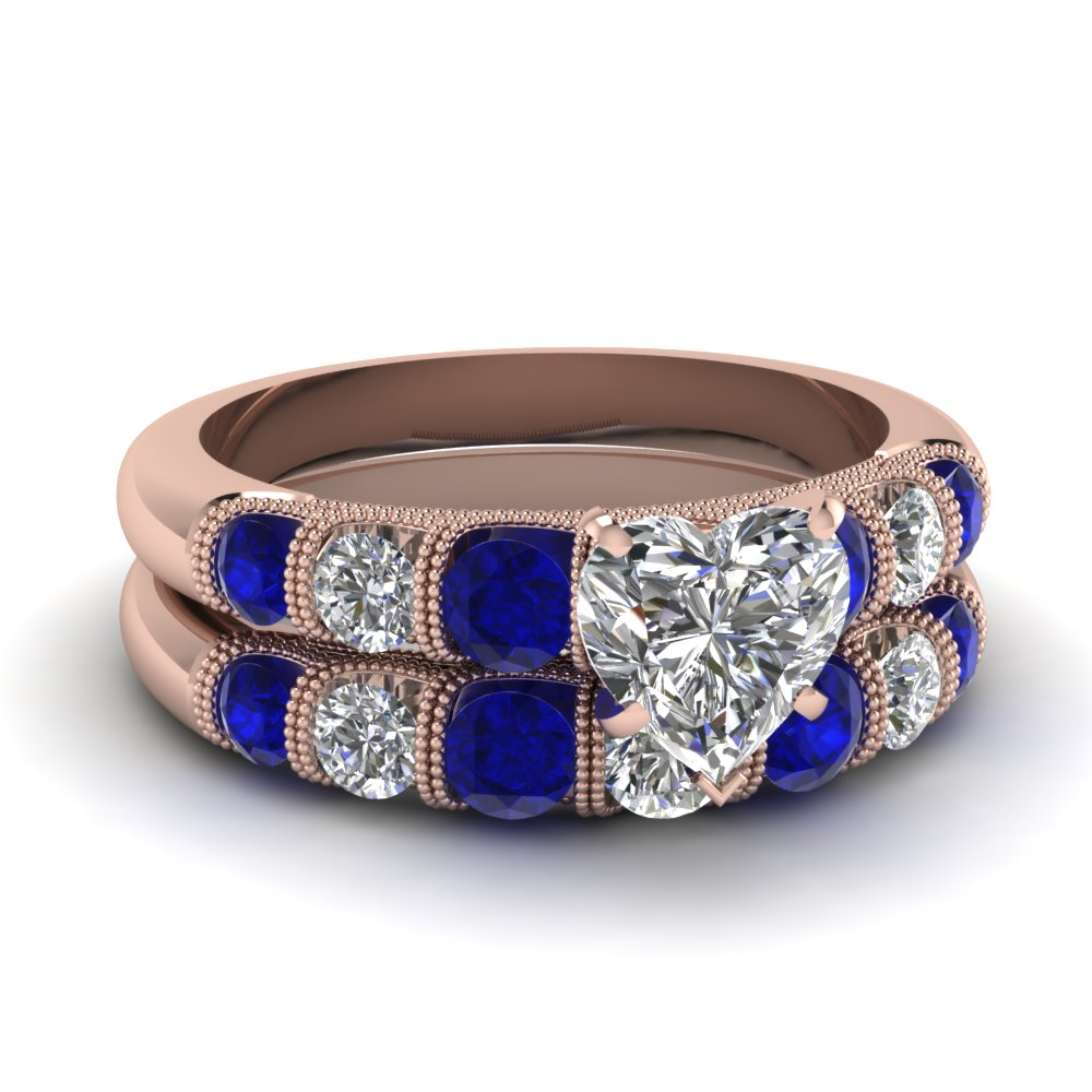 milgrain prong bar set heart diamond wedding ring set with sapphire in FDENS1783HTGSABL NL RG