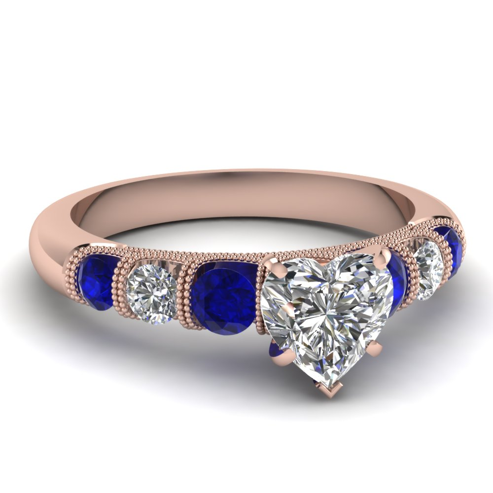 milgrain prong bar set heart diamond engagement ring with sapphire in FDENS1783HTRGSABL NL RG
