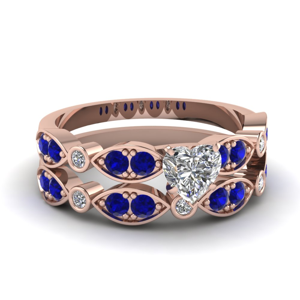 art deco heart diamond wedding ring set with sapphire in FDENS2035HTGSABL NL RG