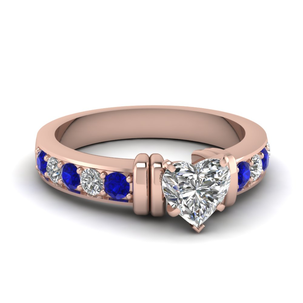 simple bar set heart lab diamond engagement ring with sapphire in FDENR957HTRGSABL Nl RG