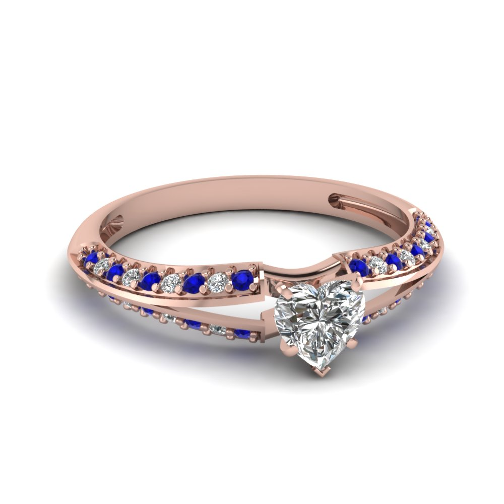 delicate split heart diamond engagement ring with sapphire in FDENS3049HTRGSABL NL RG 30