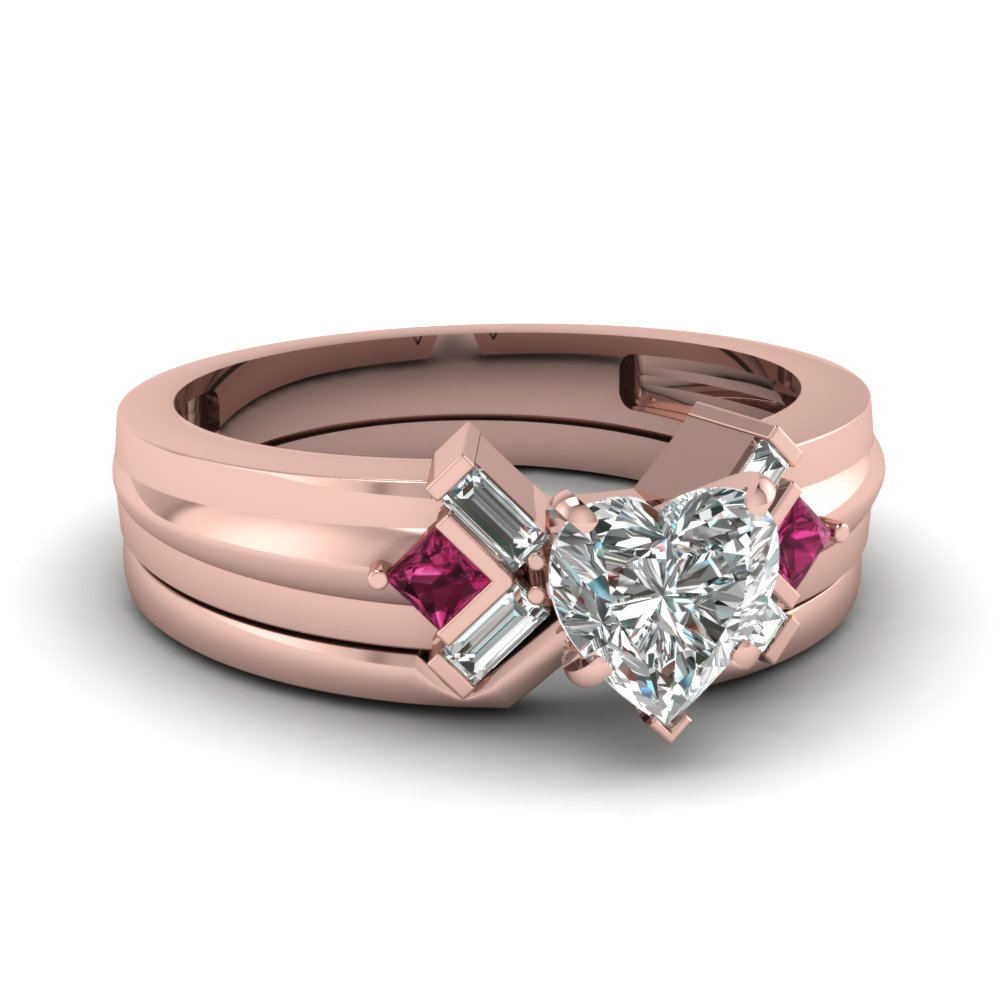 heart shaped bar baguette diamond bridal set with pink sapphire in FD120699HTGSADRPI NL RG
