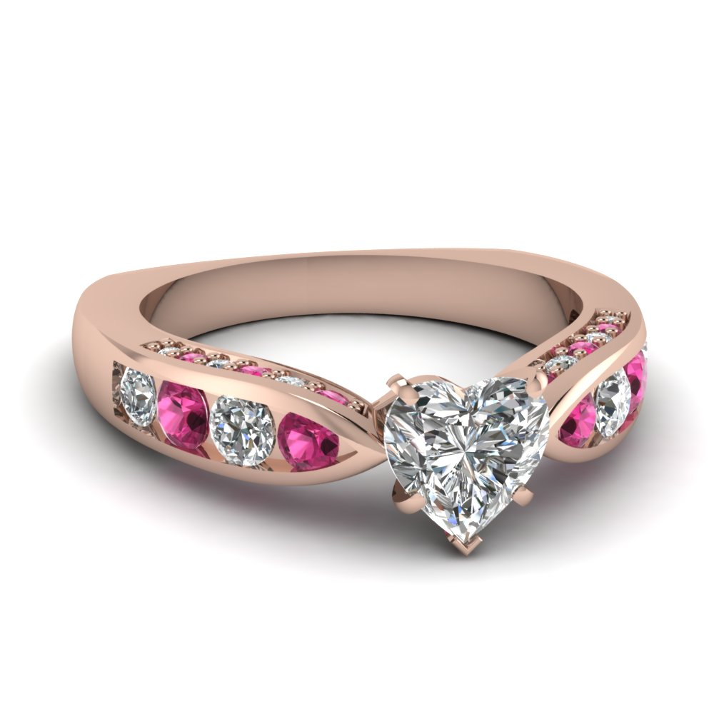 stone wedding three sapphire ring pink engagement diamond rings and
