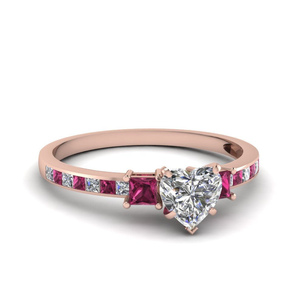 halo wedding white ring sapphire engagement and product rings pink with shaped diamond home heart rose gold