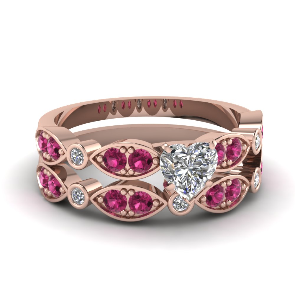 art deco heart diamond wedding ring set with pink sapphire in FDENS2035HTGSADRPI NL RG