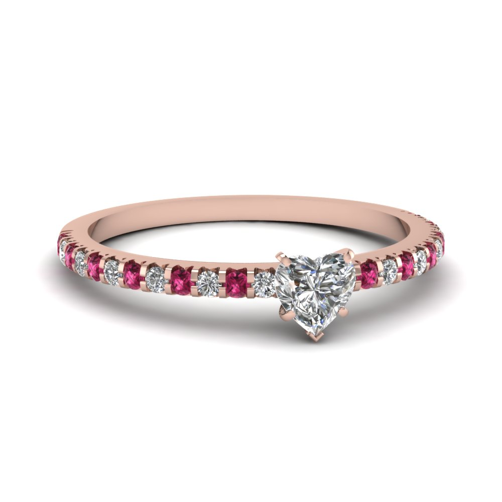 floating thin heart diamond ring with pink sapphire in FDENS3009HTRGSADRPI NL RG 30