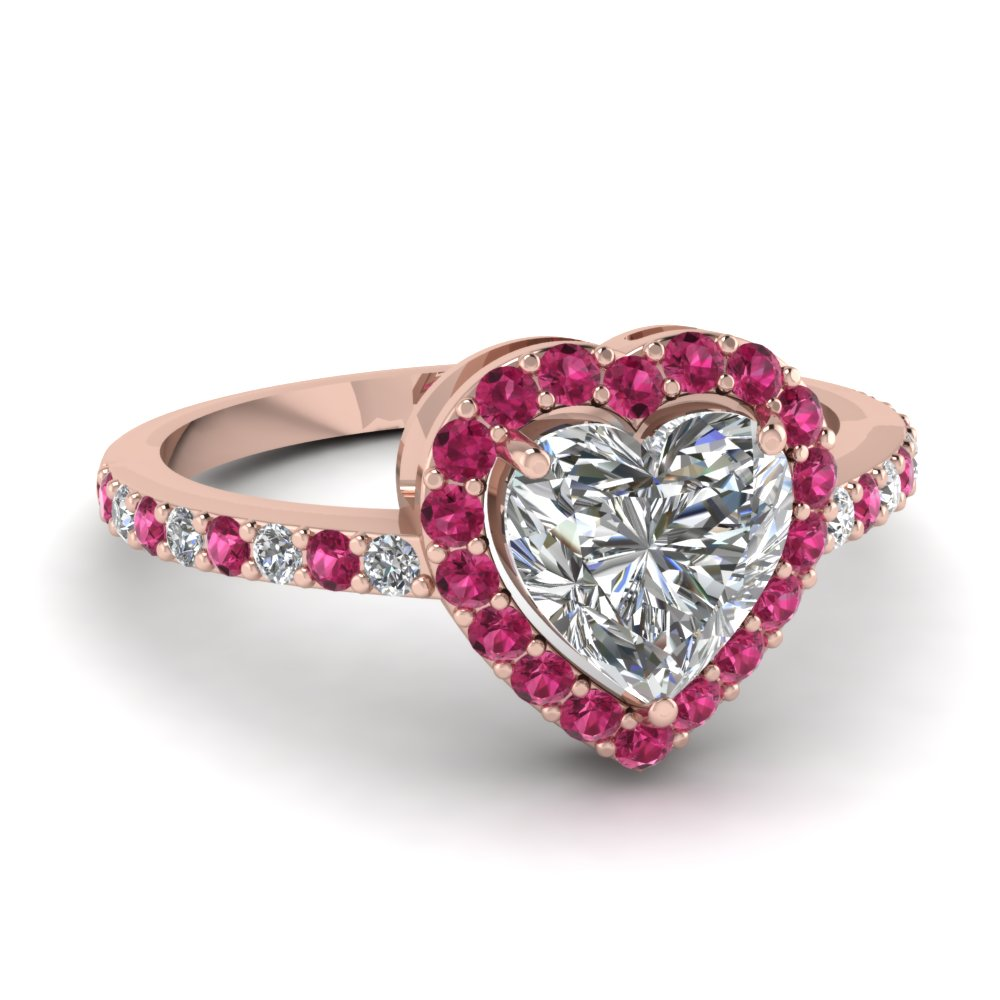 Heart Shaped Halo Diamond Engagement Ring With Pink Sapphire In 14K