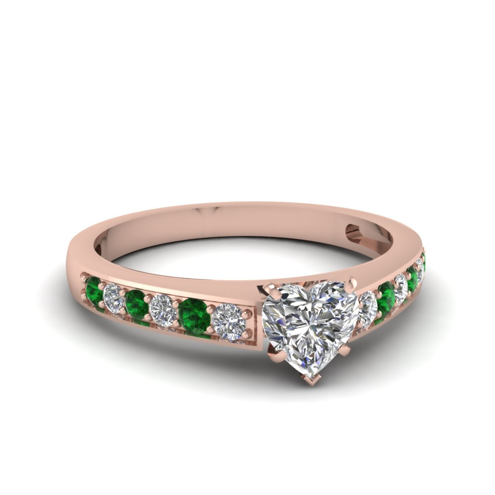 heart shaped pave diamond engagement ring with emerald in FDENS3002HTRGEMGR NL RG 30