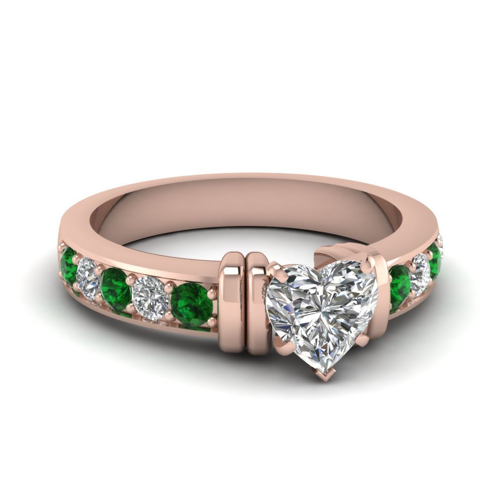 Simple Bar Set Heart Diamond Engagement Ring With Emerald In 18K Rose Gold