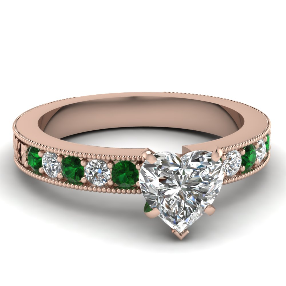 Heart Diamond Milgrain Ring with Green Emeralds