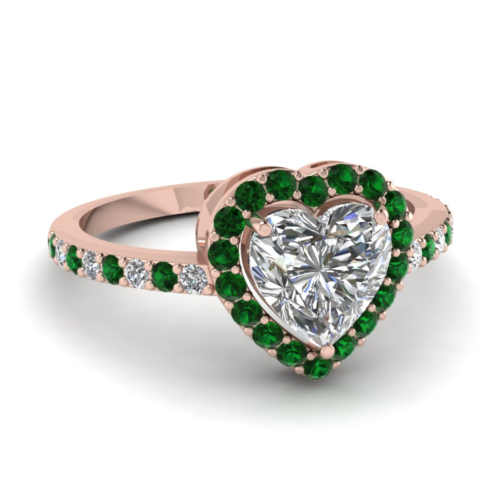 heart shaped halo diamond engagement ring with emerald in FD1011HTRGEMGR NL RG