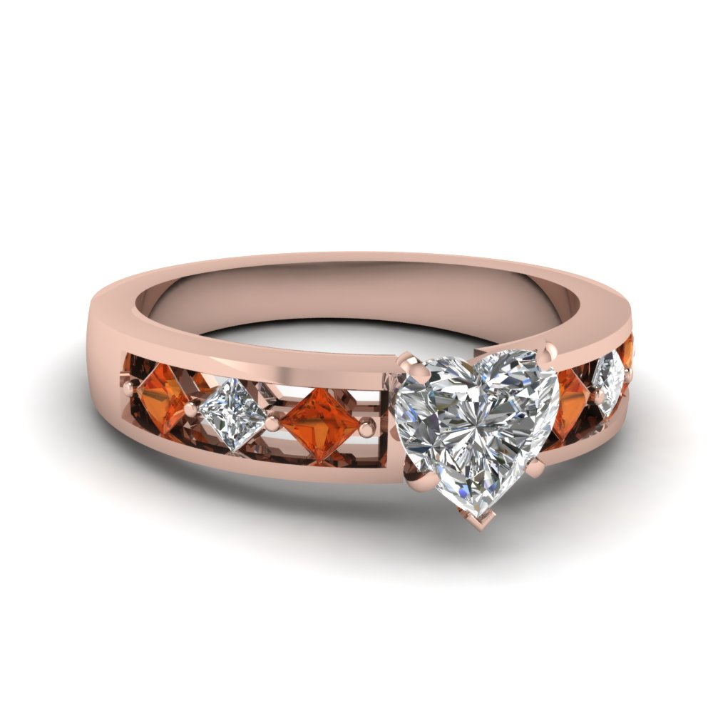 Kite Setting Heart Shaped Diamond Engagement Ring With Orange Sapphire In 18K Rose Gold