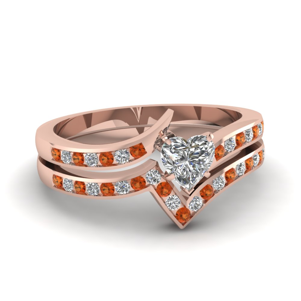 Heart Shaped Orange Sapphire Ring Set