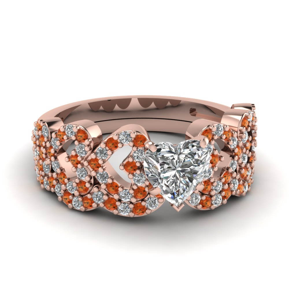 heart design linked diamond wedding set with orange sapphire in FDENS3051HTGSAOR NL RG.jpg