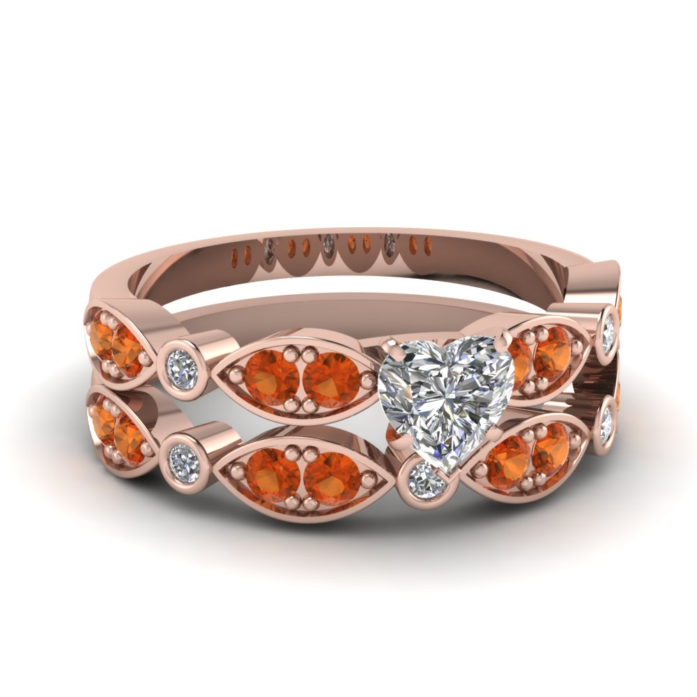rose-gold-heart-white-diamond-engagement-wedding-ring-with-orange-sapphire-in-pave-bezel-set-FDENS2035HTGSAOR-NL-RG
