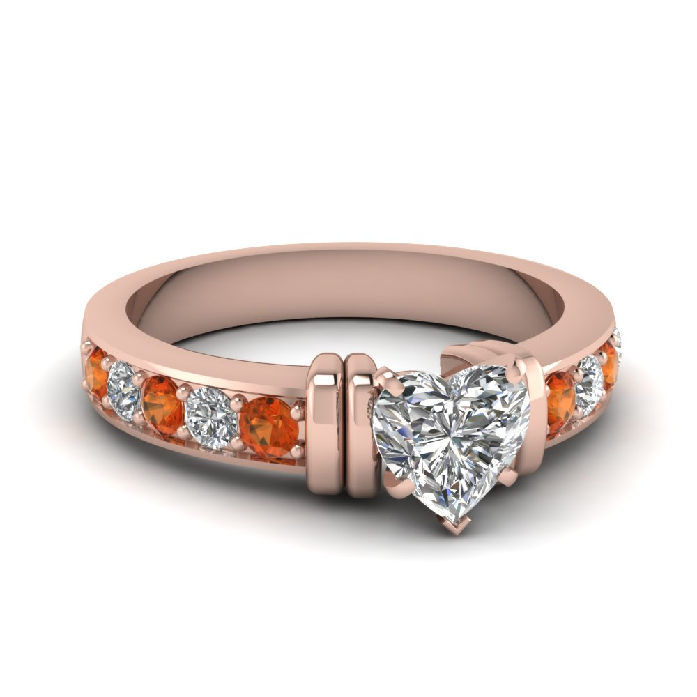 simple bar set heart diamond engagement ring with orange sapphire in FDENR957HTRGSAOR Nl RG